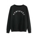 Womens Sweatshirt Simple Letter Homebody Pattern Long Sleeve Relaxed Fit Crew Neck Pullover Sweatshirt