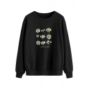 Novelty Womens Sweatshirt Daisy Letter Let It Be Pattern Round Neck Ribbed Trim Long Sleeve Loose Fit Pullover Sweatshirt