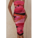 Colorful Womens Dress Abstract Painting Ruched Double-Layered Mesh Midi Slim Fitted Strapless Sleeveless Bodycon Dress