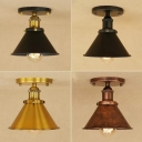 Conical Iron Semi Flush Mount Lighting Factory 1 Bulb Corridor Ceiling Lamp in Black/Bronze/Rust