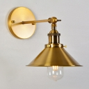 Gold Cone Wall Reading Lamp Retro Style Iron Single Bedside Swing Arm Wall Mount Light Fixture