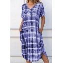 Fancy Women's Dress Tie Dye Pattern Rolled Cuffs Side Slits Front Pockets V Neck Short-sleeved Long T-Shirt Dress