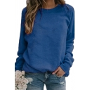 Cozy Sweatshirt Solid Color Round Neck Long Sleeves Relaxed Fit Pullover Sweatshirt for Women