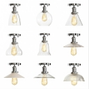 Chrome Finish Bowl/Bell Semi Flush Light Industrial Clear/Clear Ribbed Glass 1 Light Kitchen Ceiling Mount Lamp