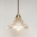 1-Bulb Conic Ceiling Pendant Lamp Industrial Clear Ribbed Glass Hanging Light for Bedroom