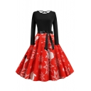Womens Dress Chic Snowflake Snowman Gift Santa Claus Tree Pattern Bow Tie Waist Midi A-Line Slim Fitted Round Neck Long Sleeve Swing Dress