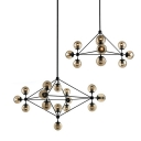 Industrial Pyramid Ceiling Chandelier 10/15 Bulbs Tan Ball Glass Suspension Pendant Light in Black