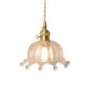 Crown Shaped Girls Bedside Pendant Lamp Modern Clear Glass 1 Head Brass Hanging Light Fixture