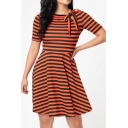 Basic Womens Dress Horizontal Stripe Pattern Tie Crew Neck Short Sleeve A-Line Slim Fitted Midi Swing Dress
