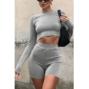 Womens Co-ords Fashionable Solid Color Rib Knit Slim Fitted Shorts Long Sleeve Round Neck Cropped Tee Co-ords