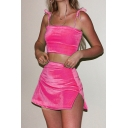 Womens Co-ords Stylish Sleeveless Spaghetti Tie-Strap Cropped Camisole Slim Fitted Split Hem Skirt Suede Co-ords