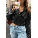 Unique Womens Jacket Plain Flap Chest Pockets Button down Cropped Slim Fit Long Sleeve Turn-down Collar PU Leather Jacket