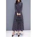 Vintage Women's A-Line Dress All over Floral Printed Crew Neck Long-sleeved Regular Fitted A-Line Dress