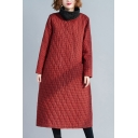 Leisure Women's Coat Quilted Plaid Pattern Pockets Turtleneck Long-sleeved Relaxed Fitted Coat