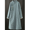 Vintage Coat Single-Breasted Stand Collar Long Sleeve Fitted Cotton and Linen Coat for Women