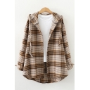 Womens Shirt Trendy Plaid Print Brushed Thick Curved Hem Drawstring Hooded Button Detail Tunic Loose Fit Long Sleeve Shirt