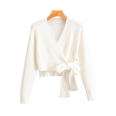 Unique Womens Cardigan Solid Color Tie-Waist Cropped Surplice Neck Slim Fitted Long Sleeve Cardigan