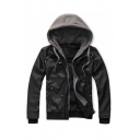 Men's New Trendy Simple Contrast Hooded Long Sleeve Leather Jacket