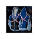 Mens Hooded Sweatshirt Creative Anime Aqua Zipper Fly Long Sleeve Slim Fit 3D Hooded Sweatshirt