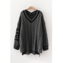 Korean Style Long Sleeve V-Neck Striped Number 1815 Cable Knit Oversize Sweater Top for Ladies