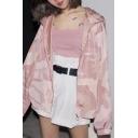 New Arrival Pink Camouflage Hooded Zip Adjustable Hem Casual Jacket Coat