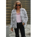 Women's Daily Regular Solid Colored Warm Short Fur Coat