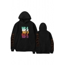 Novelty Mens Hoodie Character Japanese Letter Pattern Kangaroo Pocket Drawstring Long Sleeve Relaxed Fitted Hoodie