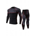 Vintage Mens Co-ords Geometric Print Quick-Dry Stretch Slim Fitted Pants Crew Neck Long Sleeve Tee Co-ords