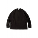 Mens T-Shirt Unique Solid Color Crew Ribbed-Neck Relaxed Fit Long Sleeve Tee Top
