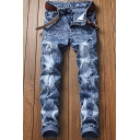 Men's Hot Fashion Snow Washed Blue Stretched Slim Fit Jeans