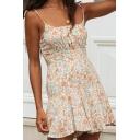 Womens Resort Dress Floral Tie Strap Scalloped Hem Faux-Belt Sleeveless Short Camisole Dress