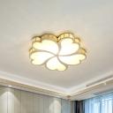 Modernist Flower Flush Mount Light Metallic LED Corridor Ceiling Lighting in Gold with Crystal Accent, White/Warm Light