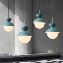 Macaron Style Sanduhr Hanging Light Iron 1-Light Snack Bar Ceiling Pendant in Grey/Pink/Blue with White Glass Shade