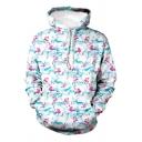 Mens Hoodie Simple 3D Allover Flamingo Print Kangaroo Pocket Drawstring Long Sleeve Regular Fit Hooded Sweatshirt