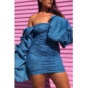 Vintage Womens Dress Solid Color Zipper Back Ruched Mini Slim Fitted Long Flared Cuff Sleeve Scoop Neck Bodycon Dress