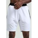 Chic Mens Shorts Color Block Panel Quick-Dry Ventilation Elastic Waist Regular Fitted Sport Shorts