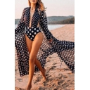 Classy Womens Chiffon Cardigan Polka Dots Print Drawstring V Neck Full Sleeve Cardigan for Beach