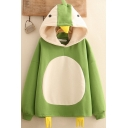 Girls Penguin Printed Sherpa Liner Long Sleeve Contrasted Loose Fit Kawaii Hoodie