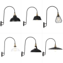 Arched-Arm Bedroom Wall Lamp Fixture Loft Style Iron Single-Bulb Black Wall Mount Light with Scalloped/Barn Shade