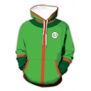 Cute Men's Hoodie 3D Cosplay Zip Fly Contrasted Drawstring Side Pockets Long Sleeve Relaxed Fit Hoodie