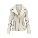 Basic Womens Jacket Contrast Panel Thin Zipper Detail Long Sleeve Notched Lapel Collar Slim Fit PU Leather Jacket