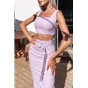 Vintage Womens Co-ords Plain Strap Buckle Belted Slim Fitted Midi Pencil Skirt Sleeveless Cropped Camisole Co-ords