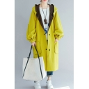 Bright Yellow Convertible Windbreaker Button Thigh-Pocket Bishop Sleeve Oversized Hoodie Coat for Girls