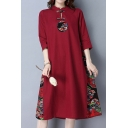 Tribal Style Women's Dress Cotton and Linen Contrast Panel Chinese Fans Printed Button Detail Stand Collar Mid-sleeved Midi Swing Dress