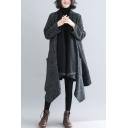 Elegant Women's Coat Space Dye Printed Open Front Asymmetrical Pockets Long-sleeved Oversized Coat