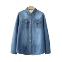 Unique Womens Shirt Faded Wash Thickened Flap Chest Pockets Button down Long Sleeve Spread Collar Loose Fit Denim Shirt