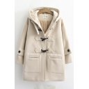 Vintage Womens Coat Plain Toggle Button Decoration Hooded Loose Fit Long Sleeve Woolen Coat