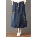 Cut Out Detail Drawstring Waist Midi Denim Skirt