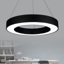 Studio LED Pendant Light Kit Minimalist Black/White Hanging Lamp with Circle Acrylic Shade, 16