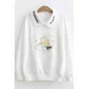 Bear Heart Printed Long Sleeve Peter-Pan Collar Sweatshirt for Juniors